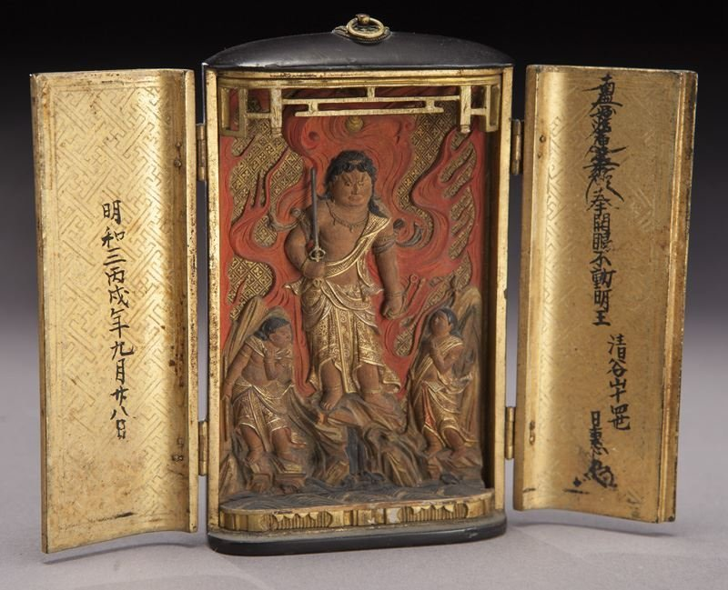 Small Japanese lacquered traveling shrine.