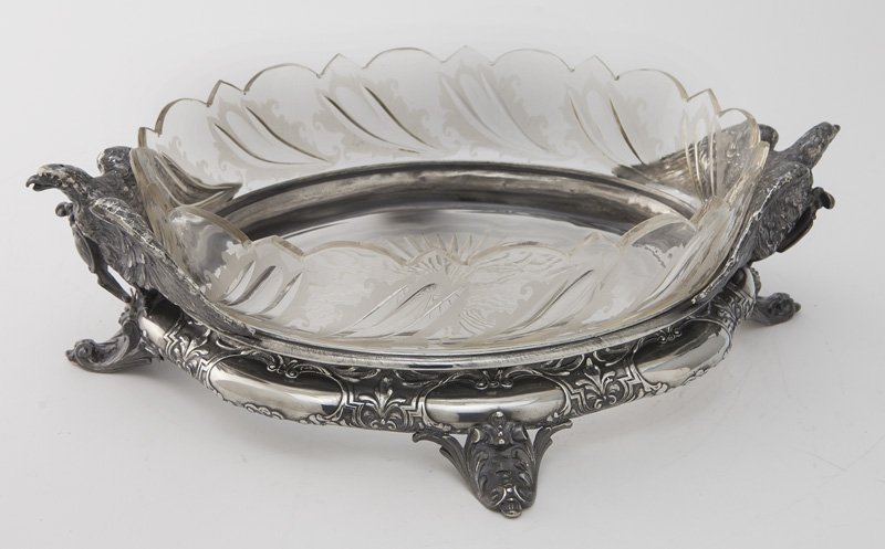 Continental cut glass and silverplate centerpiece,