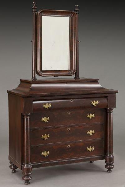 American Empire flame mahogany dressing table