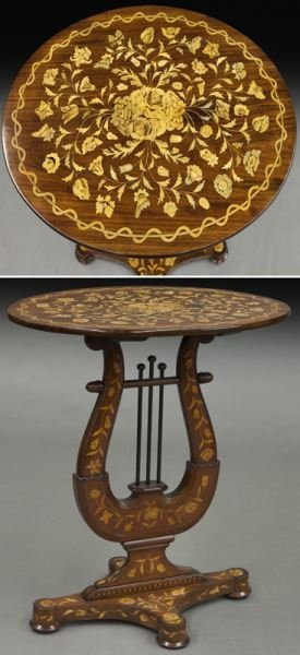 Lyre form marquetry inlaid table