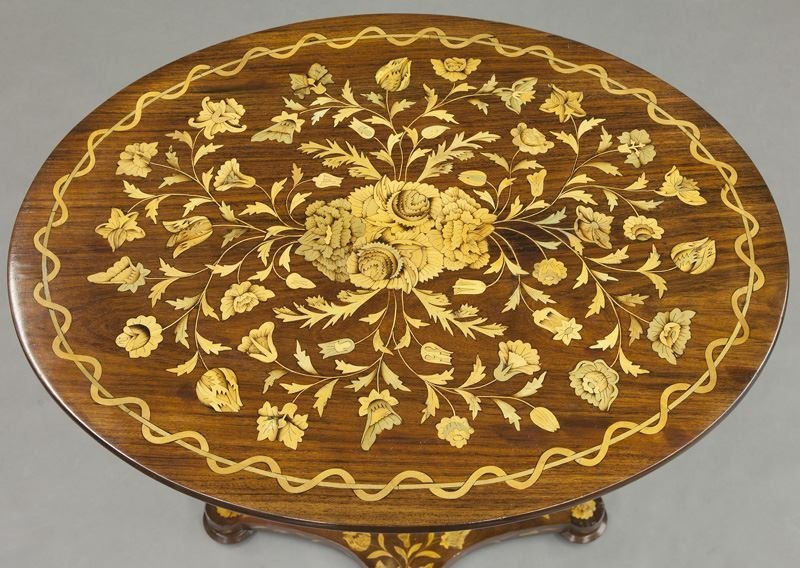 Lyre form marquetry inlaid table - 7