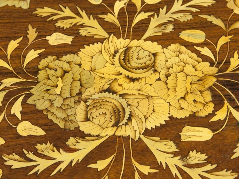 Lyre form marquetry inlaid table - 8