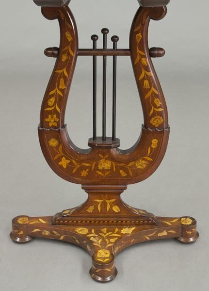 Lyre form marquetry inlaid table - 9