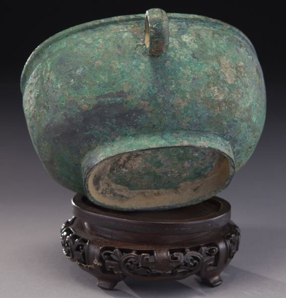Antique Chinese oval bronze bowl - 7