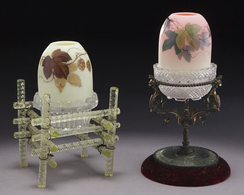 (2) Webb Burmese fairy lamps with unusual stands
