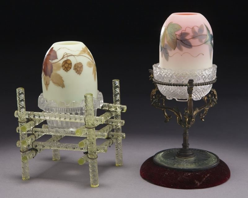 (2) Webb Burmese fairy lamps with unusual stands - 2