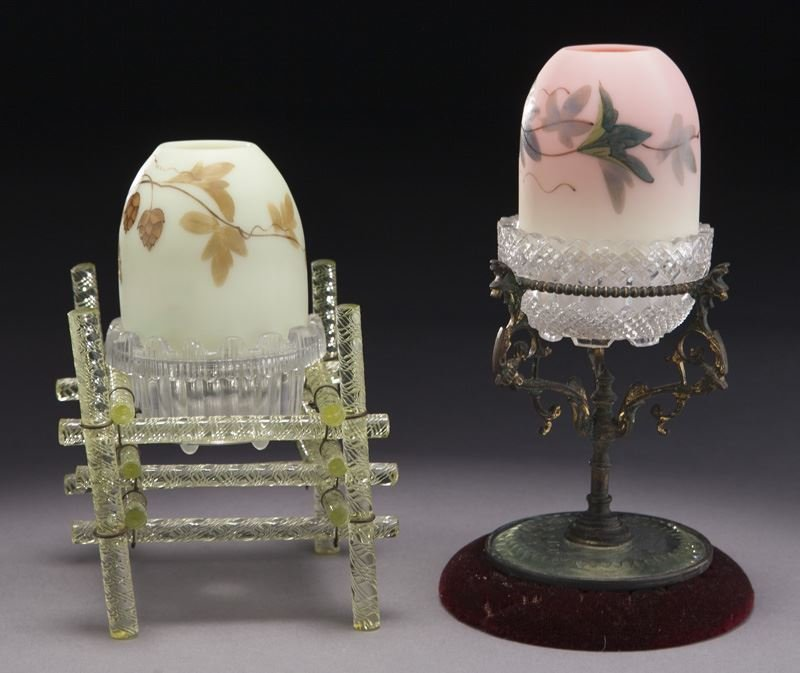 (2) Webb Burmese fairy lamps with unusual stands - 3