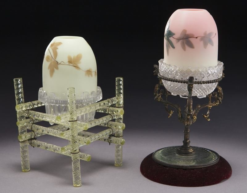 (2) Webb Burmese fairy lamps with unusual stands - 4