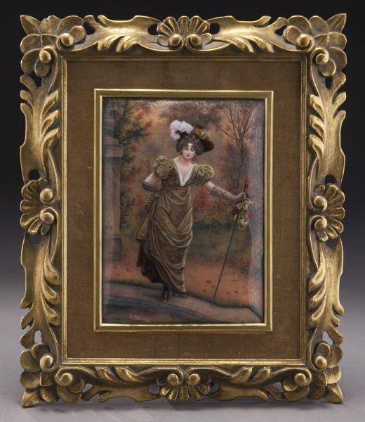 Gilt framed Limoges enameled plaque