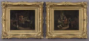 Pr. Gilt framed oil on canvas paintings,