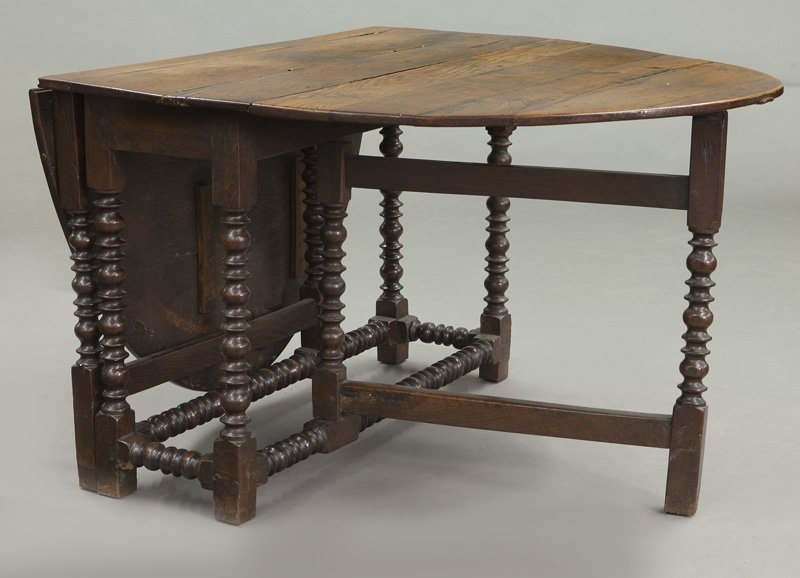 Large 18th C. English oak oval gateleg table - 5