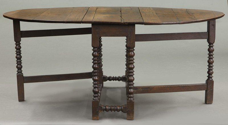 Large 18th C. English oak oval gateleg table - 6