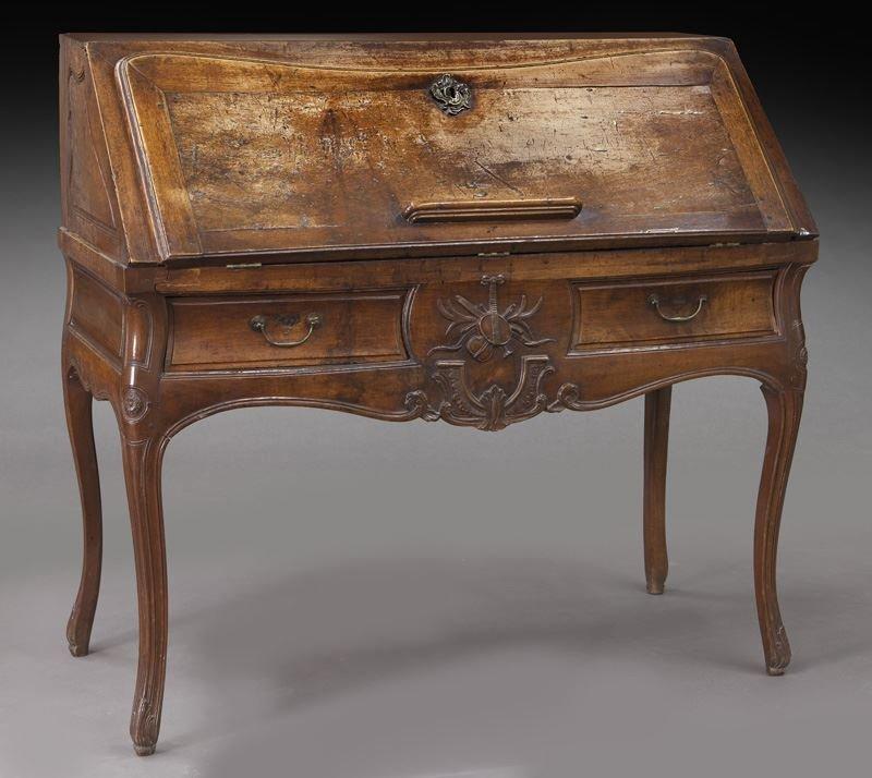 Early 18th C. French walnut drop front bureau