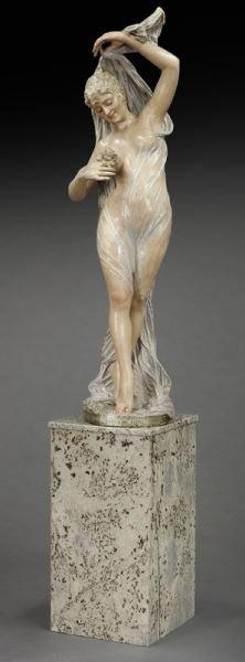 Art Nouveau style polychrome sculpture