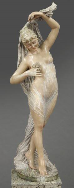 Art Nouveau style polychrome sculpture - 3