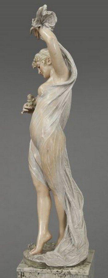 Art Nouveau style polychrome sculpture - 7