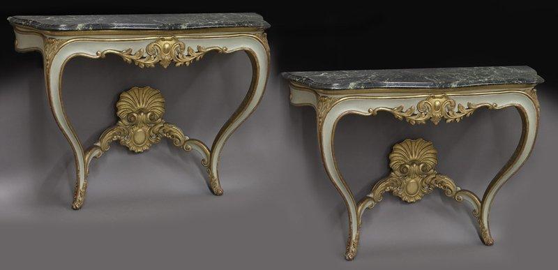 Pr. French Rococo style consoles,
