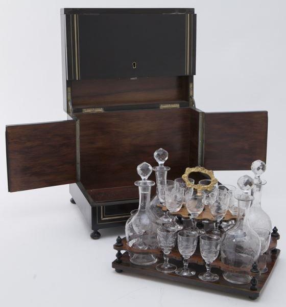 French liquor set in brass inlaid ebonized case