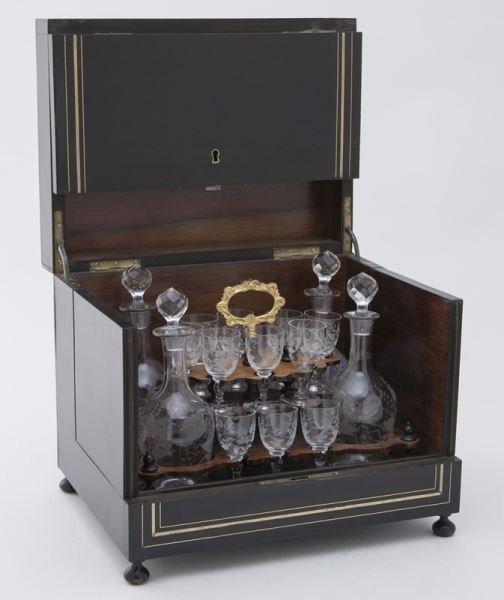 French liquor set in brass inlaid ebonized case - 3