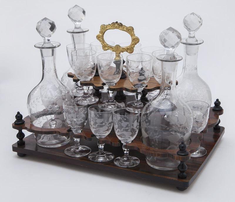 French liquor set in brass inlaid ebonized case - 5