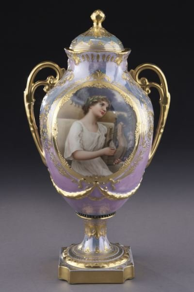 Royal Vienna lidded portrait urn with an