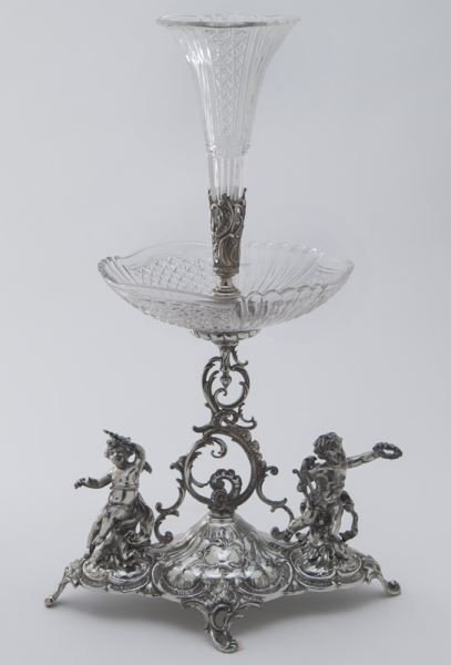 Val St. Lambert crystal and silverplate epergne