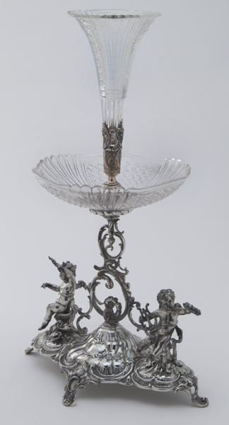 Val St. Lambert crystal and silverplate epergne - 2