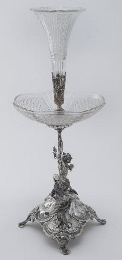 Val St. Lambert crystal and silverplate epergne - 3