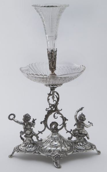 Val St. Lambert crystal and silverplate epergne - 4