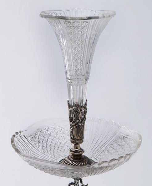 Val St. Lambert crystal and silverplate epergne - 5