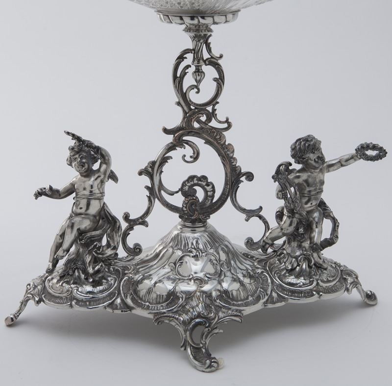 Val St. Lambert crystal and silverplate epergne - 6