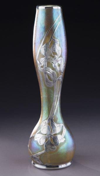 """Loetz 14"""" silver overlay art glass vase"""