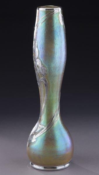 """Loetz 14"""" silver overlay art glass vase - 2"""