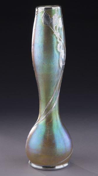 """Loetz 14"""" silver overlay art glass vase - 3"""