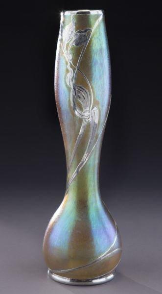 """Loetz 14"""" silver overlay art glass vase - 4"""