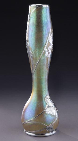 """Loetz 14"""" silver overlay art glass vase - 5"""