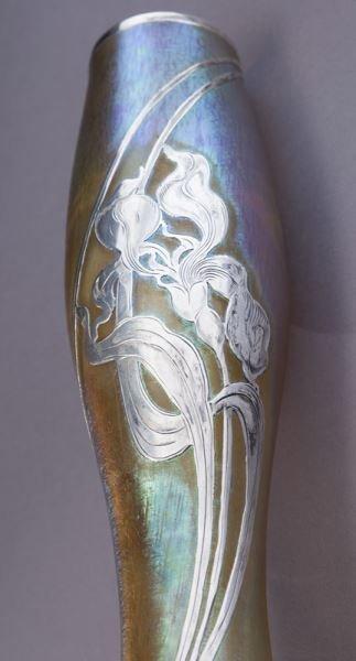 """Loetz 14"""" silver overlay art glass vase - 6"""