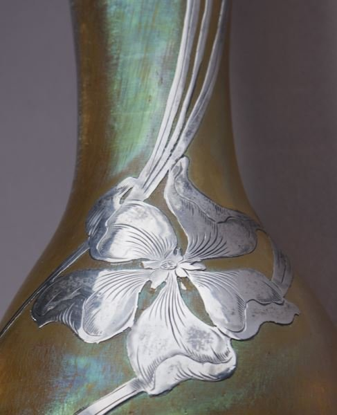 """Loetz 14"""" silver overlay art glass vase - 7"""