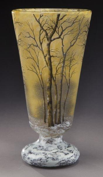 Daum Nancy winter scene cameo vase,
