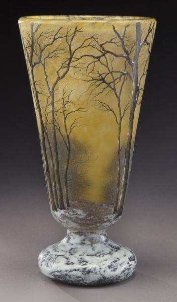 Daum Nancy winter scene cameo vase, - 2