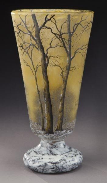 Daum Nancy winter scene cameo vase, - 3