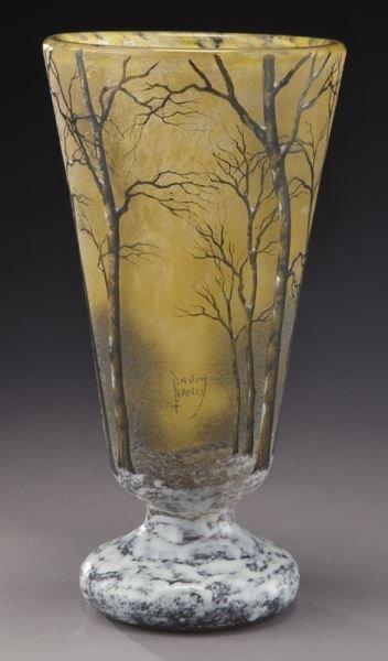 Daum Nancy winter scene cameo vase, - 4