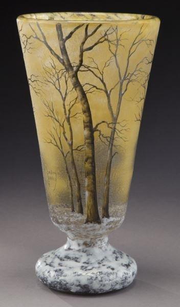 Daum Nancy winter scene cameo vase, - 5