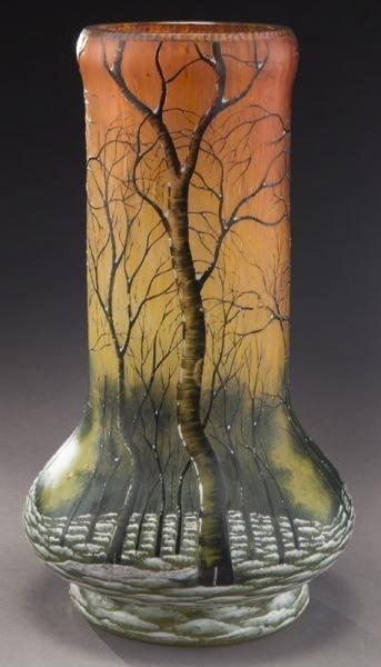 Daum Nancy scenic French cameo vase, - 3