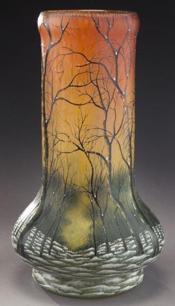 Daum Nancy scenic French cameo vase, - 4