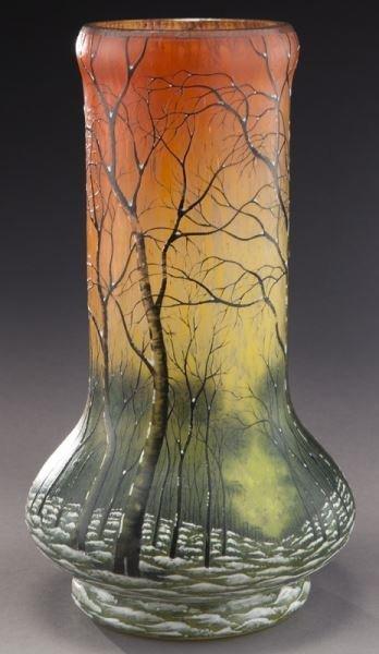Daum Nancy scenic French cameo vase, - 5