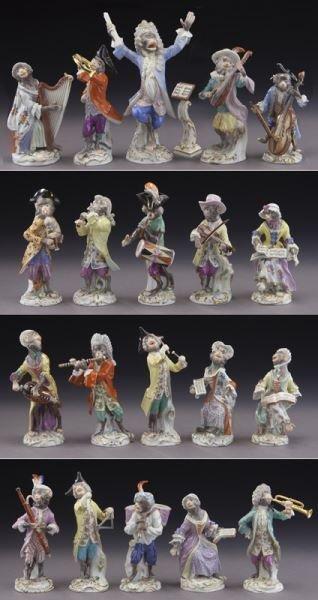 Rare 21 Pcs. Meissen porcelain monkey band