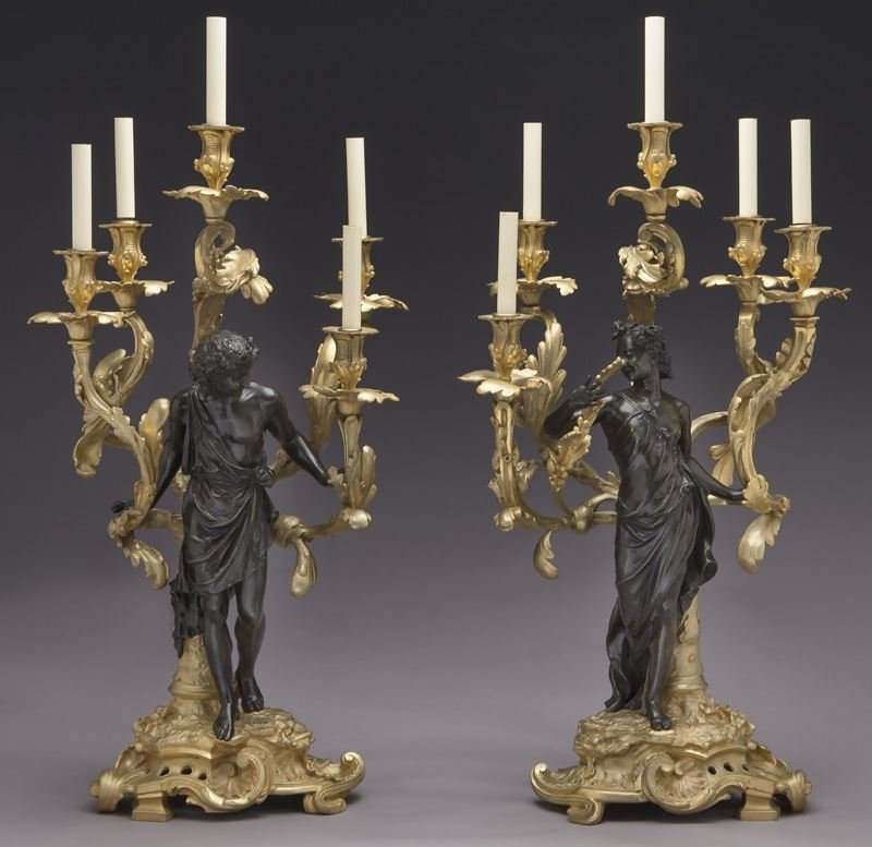 Large gilt bronze and patinated 5-light candelabra