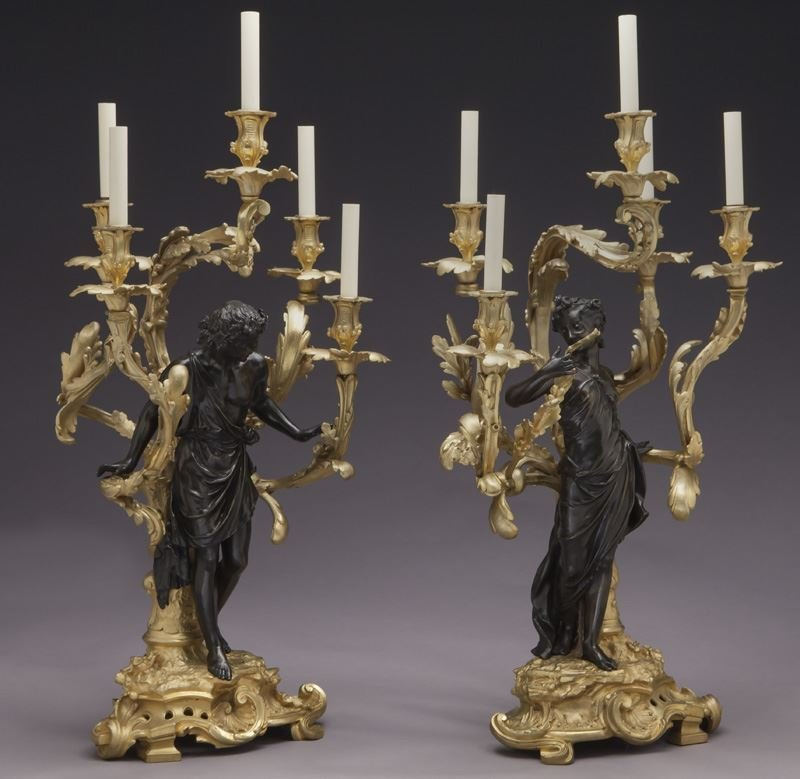Large gilt bronze and patinated 5-light candelabra - 2