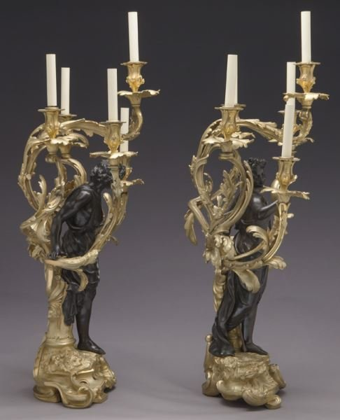 Large gilt bronze and patinated 5-light candelabra - 3